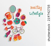 healthy lifestyle background   Shutterstock .eps vector #219742735