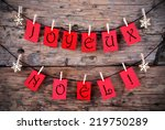 red tags hanging on a line with ... | Shutterstock . vector #219750289