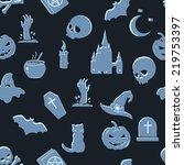 vector seamless halloween...   Shutterstock .eps vector #219753397