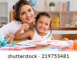portrait of happy mother and... | Shutterstock . vector #219753481