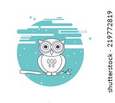 decorative vector owl and moon. ... | Shutterstock .eps vector #219772819