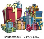 pie of colorfully wrapped gifts ... | Shutterstock .eps vector #219781267