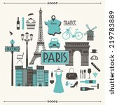 vector illustration of paris in ... | Shutterstock .eps vector #219783889
