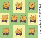 set of the funny cat icons with ... | Shutterstock .eps vector #219789169