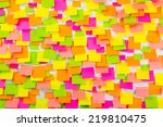 many of colorful stickers on a... | Shutterstock . vector #219810475