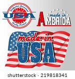 made in usa logos with american ... | Shutterstock .eps vector #219818341