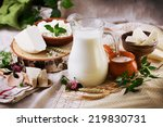 rustic dairy products still... | Shutterstock . vector #219830731