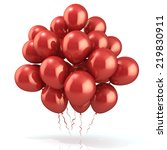 red balloons crowd  isolated on ... | Shutterstock . vector #219830911