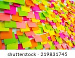 many of colorful stickers on a... | Shutterstock . vector #219831745