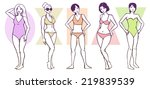 set of female body shape types  ... | Shutterstock .eps vector #219839539