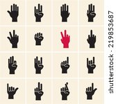 hand icon. sign language.... | Shutterstock .eps vector #219853687