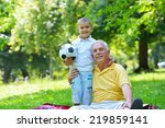 happy grandfather and child... | Shutterstock . vector #219859141