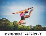 young sportive woman jumping... | Shutterstock . vector #219859675