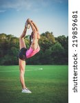 healthy young woman practicing... | Shutterstock . vector #219859681