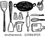 kitchen tool collection  ... | Shutterstock .eps vector #219863935