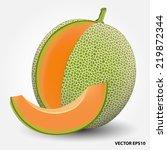 cantaloupe melon.vector... | Shutterstock .eps vector #219872344