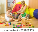children and mother collecting... | Shutterstock . vector #219882199