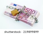 Euro Banknotes With Chain And...