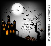 halloween haunted castle with... | Shutterstock .eps vector #219900439
