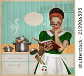 young woman cooks in the... | Shutterstock . vector #219906595