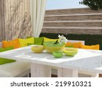 outdoor patio seating area with ... | Shutterstock . vector #219910321