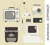 retro devices collection of tv  ... | Shutterstock .eps vector #219936625