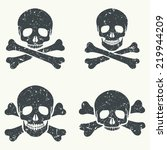 vector set of grunge skulls.... | Shutterstock .eps vector #219944209