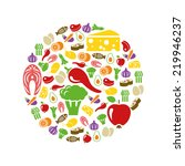 healthy food icons in circle | Shutterstock .eps vector #219946237