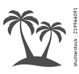 palm trees silhouette on island.... | Shutterstock .eps vector #219966091