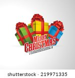 merry christmas logo illustration with present and ribbons