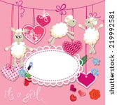pink baby shower card with... | Shutterstock .eps vector #219992581