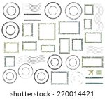 set of postal stamps and... | Shutterstock .eps vector #220014421