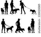 Stock vector silhouettes of people and dogs vector illustration 220020085
