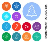 Round Christmas Icons set. Vector flat design