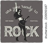 sexy rock girl with guitar.... | Shutterstock .eps vector #220050187