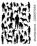 people and dogs silhouettes set | Shutterstock .eps vector #220057054