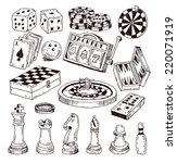chess piece  hand drawn vector... | Shutterstock .eps vector #220071919