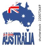australia map flag and text... | Shutterstock . vector #220072669