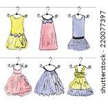 vector fashionable beautiful... | Shutterstock .eps vector #220077397