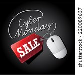 cyber monday sale mouse and tag ... | Shutterstock .eps vector #220089637