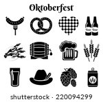 oktoberfest beer icons set with ... | Shutterstock . vector #220094299
