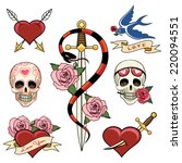 various heart  skull and dagger ... | Shutterstock . vector #220094551