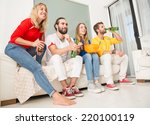 group of friends at home... | Shutterstock . vector #220100119