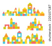 blocks castle set | Shutterstock .eps vector #220107187