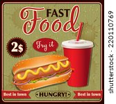 fast food poster design  hot... | Shutterstock .eps vector #220110769