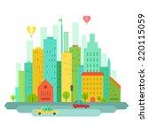 colorful urban landscape in...   Shutterstock . vector #220115059