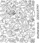 hand drawn vectors of food... | Shutterstock .eps vector #220115797