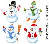 Set Of Cute Snowman In...