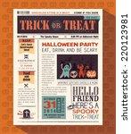 happy halloween party card... | Shutterstock .eps vector #220123981