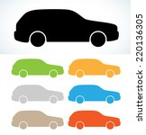 Car Silhouettes In Seven Color...